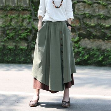 Spring Fall High Waist Saia skirt Thicken Cotton Linen Patchwork Women New Fashion Elegant Casual Skirt Long Vintage Loose Skirt