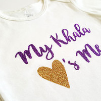 My Khala loves me bodysuit, baby clothes, heart, glitter, baby boy girl, baby shower gifts, Aunt Zia personalized, Islamic, Eid, new baby
