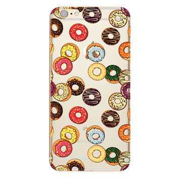 Donuts Collage TPU Soft Silicon Transparent Clear Back Case Cover for Apple iPhone 4 4s 5 5s 5c SE 6 6s 6 Plus 6s Plus 7 & 7 Plus