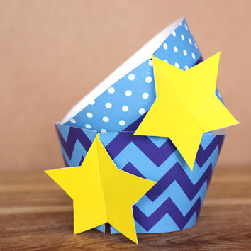 Blue Star 3D Cupcake Wrapper Set - chevron & dots -  DIY printable party supplies – great for baby showers or birthdays - INSTANT DOWNLOAD