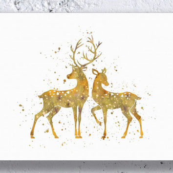 Deer Couple Watercolor Art Print Instant Download