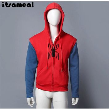 Movie Spider-Man Homecoming Peter Parker Cosplay Superm FullZip Pullover Hoodies Men Sweatshirt Long Sleeve SpiderMan Jacket