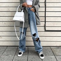 Personality Hollow Ripped Jeans Leisure Pants Trousers Women Fashion Straight Pants