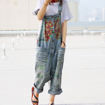 Women 2016 Summer Leisure Loose Plus Size Denim Jumpsuits Overalls collapse Pants Ankle-length Strap Floral Print Denim Trousers