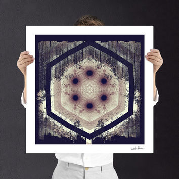 Art Nouveau Mandala Art Print, Digital Download | Buddhist, Bohemian, Baroque | Fractal Art | Unique Home Decor Wall Art