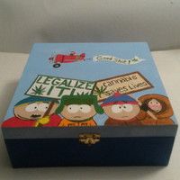 Hand painted South Park and Mr Hanky Stash Box