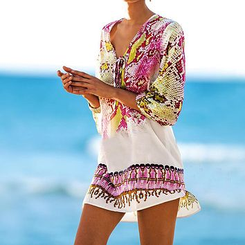Pareos Robe de plage Swimsuit cover up 2018 Chiffon Print Snake Beach Cover up Bathing  suit Cover ups  Swimwear Cover up