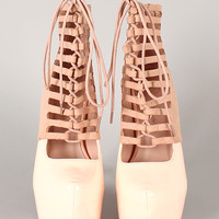 Privileged Denmark Patent Caged Corset Almond Toe Stiletto Bootie
