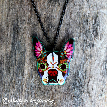 Day of the Dead Boston Terrier Sugar Skull Dog Necklace