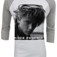 River Phoenix Stand by Me Rock Indie Movie Retro Vintage Adult Raglan Baseball 2 Tones men women S,M,L