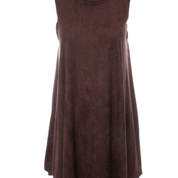 DejaVu Suede Easy Fitting Dress with Stand Collar (Chocolate Brown)