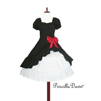 Custom made in Your size Lolita Pop Black Dress by priscilladawn