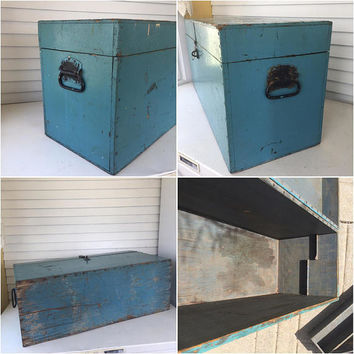 Wood Tool Box, Primitive, Tool Chest, Hinged Lid, Handles, Rustic, Large, Wooden Box, Blue, Shabby Chic, Vintage Storage, Fathers Day