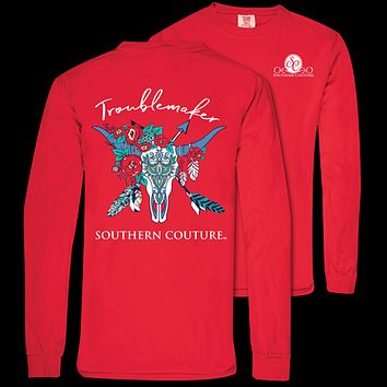 Southern Couture Troublemaker Skull Comfort Colors Long Sleeve T-Shirt