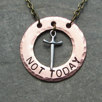 Not Today Necklace Game of Thrones Inspired With Sward Charm