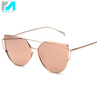 Brand Designer Sunglasses Women Luxury Cat Eye Glasses Vintage Fashion Coating Reflective Sun Glasses Eyewear MA366