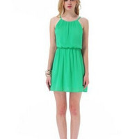 Green Strap Elastic Waist Chiffon Dress