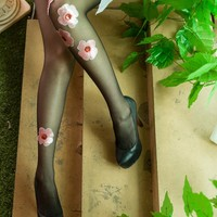 Flowers embroidered sequins bead stockings pantyhose pants stockings