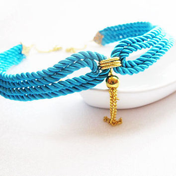Deep sky blue Nautical Sailor's Knot Rope Infinity Collar Necklace,  Bip New Season Summer Accessory