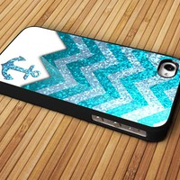 Monogram Sparkly Anchor Nautical,Navy Sparkly Chevron Pattern New Design For Apple Phone, IPhone 4/4S Case, IPhone 5 Case, Cover Plastic