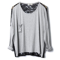 Montage Lace Grey T-shirt [NCTQ0076] - $24.99 :