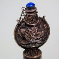 Vintage Tibetan Snuff Bottle Repousse Ornamented Powdered Tobacco Bottle Collectible Gift