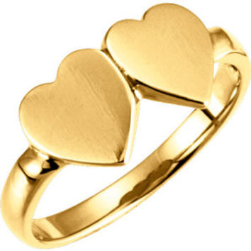 14kt Yellow Double Heart Signet Ring