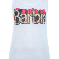 Barbie Slogan Cold Shoulder Top - Tops  - Apparel