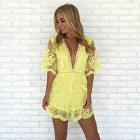 Popping Chic & Lace Romper in Yellow