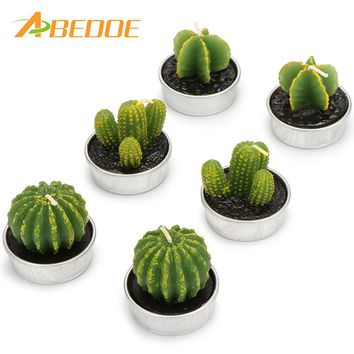 ABEDOE 6pcs, Non-spill Cactus Candle Decorative Tea Light Candles