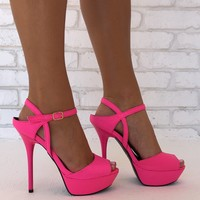 Slither Snakeskin Platform Heels In Hot Pink