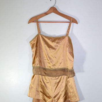 Vintage Lingerie Pajama Set Camisole Top and Shorts Victoria Secret Lingerie Set Silky Camisole Brown Camisole Top Valentines Day Gift