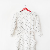 1940's Stunning White Polka Dot printed long-sleeves knee length Blouson Dress (S) Engagement - Wedding - Bride - Evening Wear