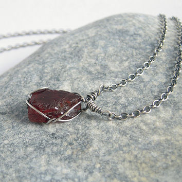 Rough Garnet Necklace, Handmade Garnet Sterling Silver Chain, Rustic Birthstone Jewelry