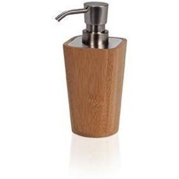 MV Bamboo Square Wood Bathroom Standing Pump Liquid Soap Lotion Dispenser
