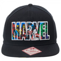 Marvel Comics Text Logo Snapback Hat