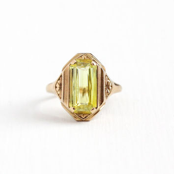 Vintage 10k Rose Gold Created Yellow Sapphire Ring - Art Deco 1930s Flower Design Size 5 Bright Lab Created Stone Statement Fine Jewelry