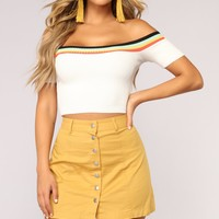 Sasha Scoop Neck Ribbed Top - White