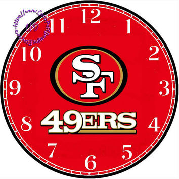 """San Francisco 49ers Sports Team Art - -DIY Digital Collage - 12.5"""" DIA for 12"""" Clock Face Art - Crafts Projects"""
