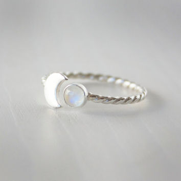 Crescent moon and rainbow moonstone ring, sterling silver rainbow moonstone ring, twist band, dainty sterling ring, moon ring, zenned out