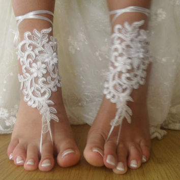 İvory lace.Barefoot Sandals, french lace, Nude shoes, , Foot jewelry,Wedding, Bridal Anklet lace shoes , Belly Dance