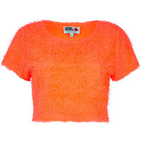 River Island Womens Orange Chelsea Girl fluffy cropped sweater