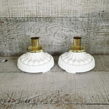 Candlestick Holders Milk Glass Candle Holder Mid Century Brass and Milk Glass Candle Holders Brass Candlestick Holder Vintage Wedding Decor