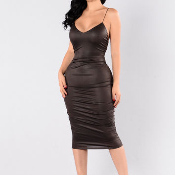 To The Point Dress - Dark Brown