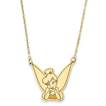 Sterling Silver or Yellow Gold Plated Disney 18inch Tinker Bell Necklace