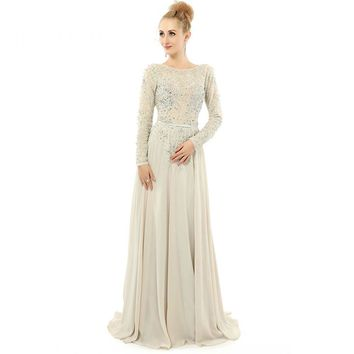 Chiffon Beading A Line Scoop Neck Backless Long Evening Dress Long Sleeves Floor Length