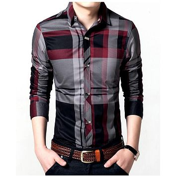 Winter Men's Plaid Shirts Cotton Casual Shirts Thick Fleece Warm Brand Clothing Slim Fit Men's Clothes