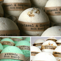 Skin Loving Bath Bomb Set (3), Goats Milk Oatmeal, Avocado & Calendula Bath Fizzies, All Natural Bath Bombs