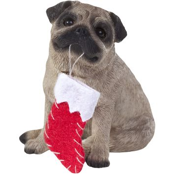 Sandicast Sitting Fawn Pug w/ Stocking Christmas Dog Ornament