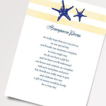 Printable Beach Wedding Invitations - Yellow and Blue Cottage Chic Starfish Honeymoon Poem Template - DIY - Printable